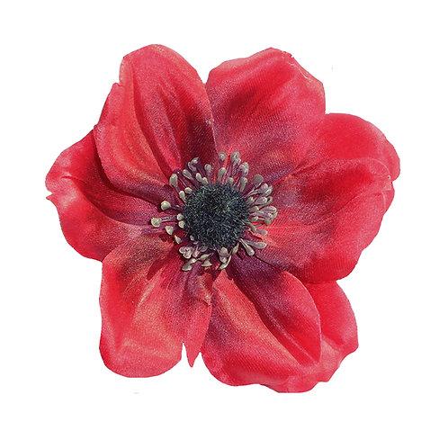 SOPHIA Single Anemone Hair Flower - Red