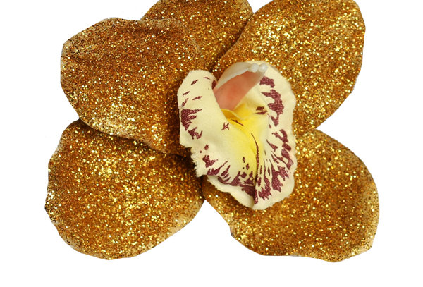 SPECIAL EDITION Ginger Orchid Gold Glitter Hair Flower
