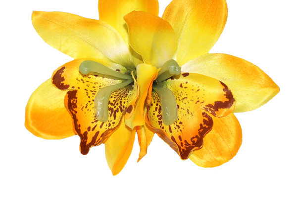 GIGI Double Orchid Tropical Hair Flower - Yellow