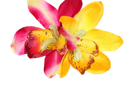 Red and Yellow Double Orchid Hair Flower