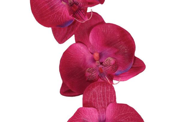 DORIS MAY Cerise Orchid Hair Flower Cascade
