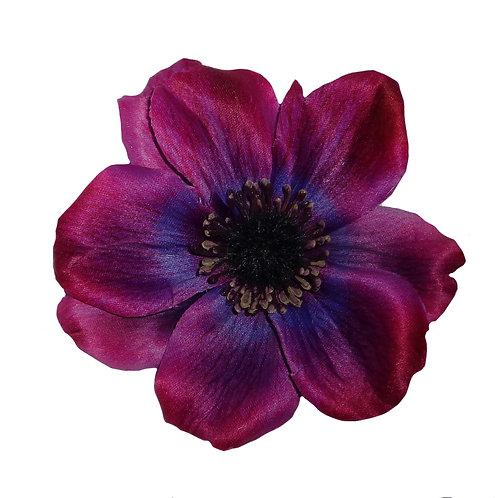 SOPHIA Single Anemone Hair Flower - Purple