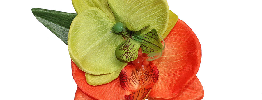 Double Orange and Lime Orchid Hair Flower