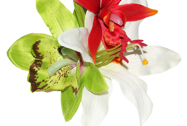 LORI Green Orchid and Lily Tropical Hair Flower