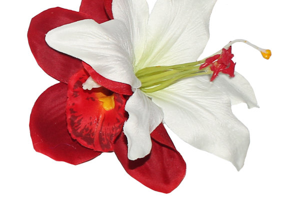 BILLIE Red and White Lily Hair Flower
