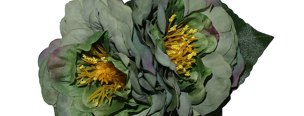 GEORGIA Dark Green Vintage Style Peony Hair Flower