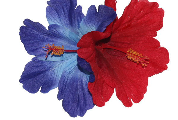 DEBRA Double Blue & Red Hibiscus Hair Flower