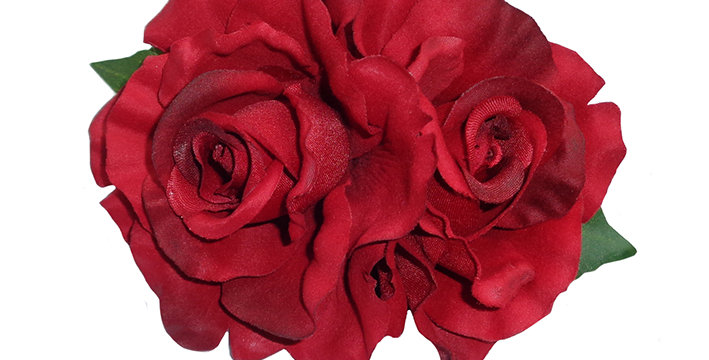 ANITA Double Pinup Rose Hair Flower - Red