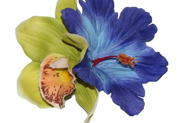 Tropical IZABELA Orchid & Hibiscus Hair Flower