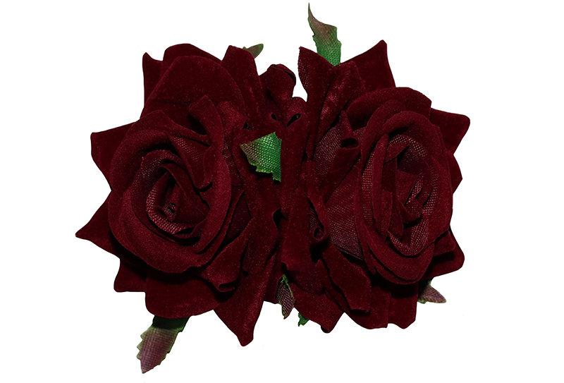 ELLEN Small Double Rose Hair Flowers - Burgundy