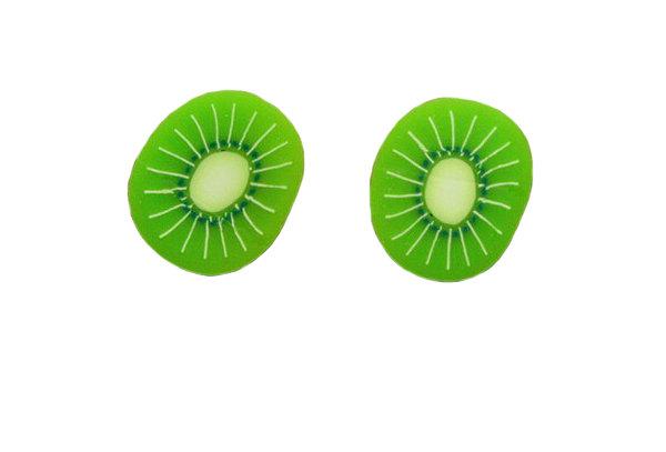 Small Kiwi Slice Fruit Earrings