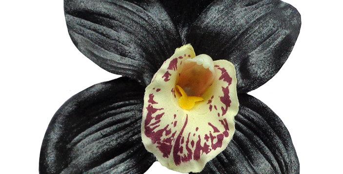 Ginger Hand Painted Black Shimmer Orchid Hair Flower
