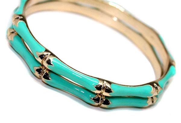 Turquoise Bamboo Style Bangles