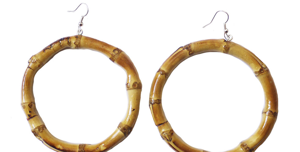 Round Tiki Bamboo Earrings (Original)