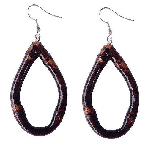 Oval Tiki Bamboo Earrings (Burnt Wood)