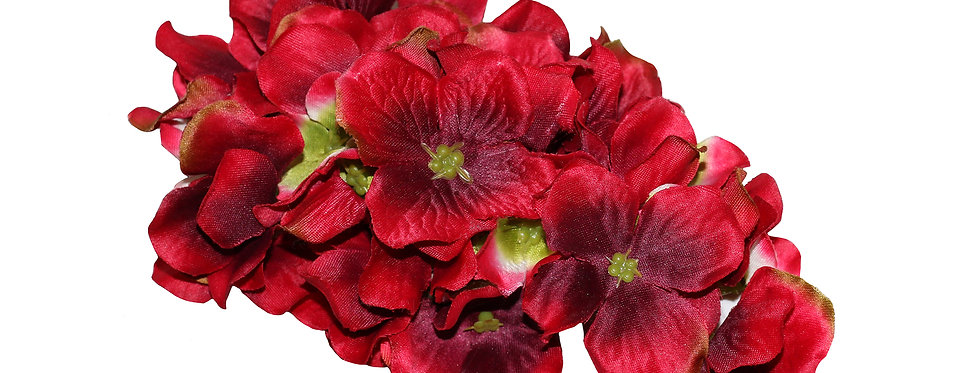 ETTA XL Red Hydrangea Cluster Vintage Style Hair Flower