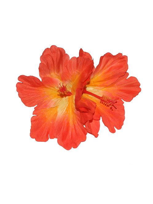 DEBRA Double Hibiscus Hair Flower in Orange