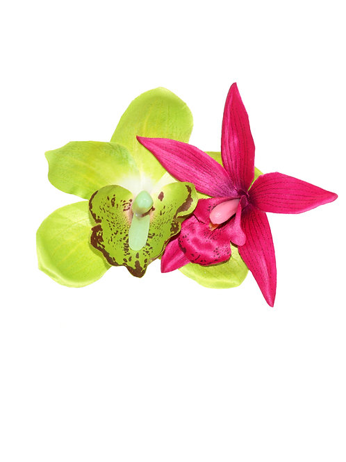 KIKI Lime Green and Cerise Orchid Hair Flower