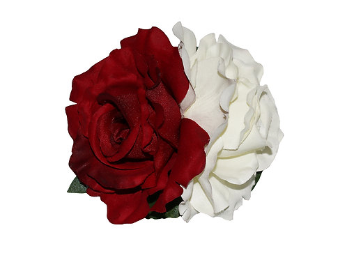 ANITA Double Red/Cream Rose Hair Flower