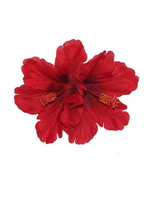 DEBRA Double Hibiscus Hair Flower in Red