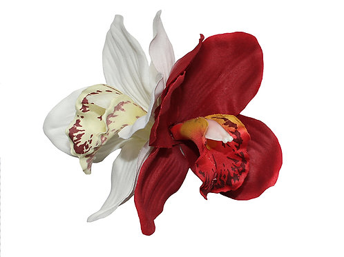 GINGER Double Cream/Red Orchid Hair Flower