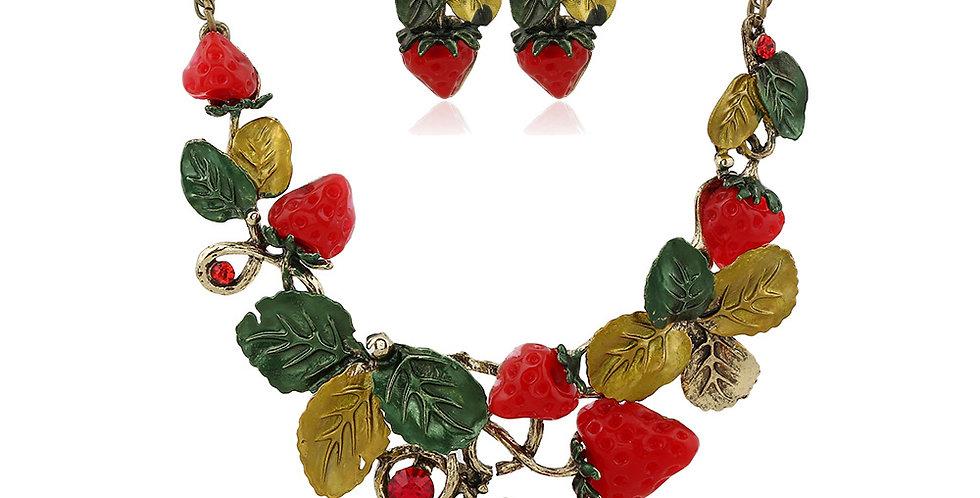 Vintage Style Strawberry Jewellery Set