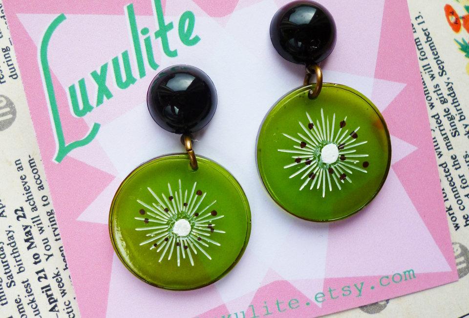 Luxulite Retro Kiwi Earrings