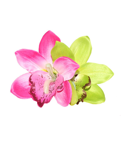 GIGI Double Pink and Lime Green Orchid Hair Flower