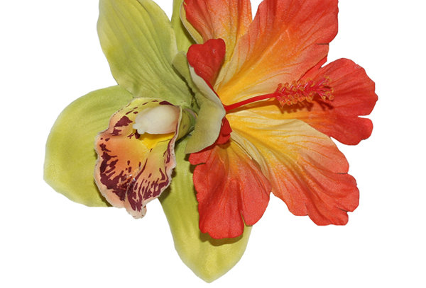 IZABELA Green Orchid and Orange Hibiscus Hair Flower