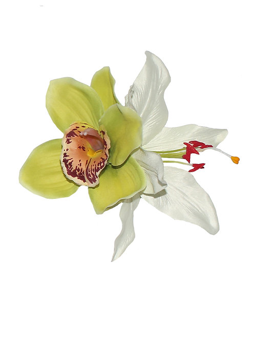 BILLIE Green Orchid & White Lily Hair Flower