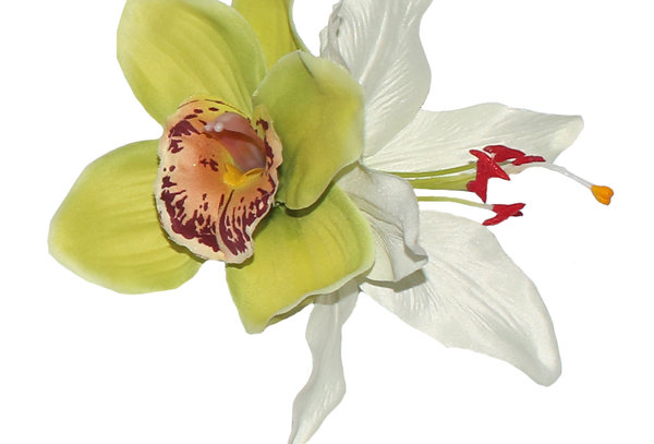 BILLIE Green and White Lily Hair Flower