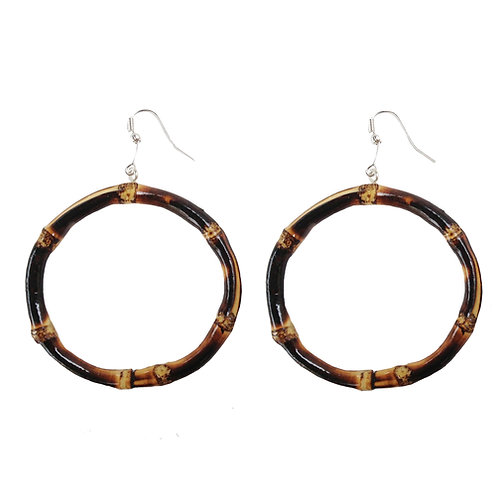 Oversized Round Tiki Bamboo Earrings (Burnt Wood)