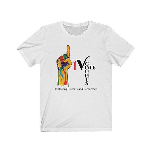 White Unisex 1 Vote Counts Tshirt