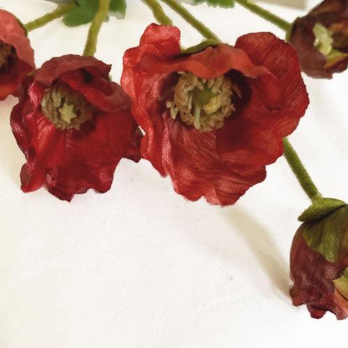 Mini Poppy Stem - Red