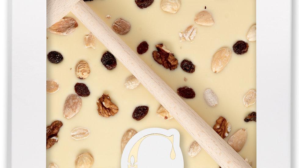 Coffret Marteau Chocolat Blanc, Fruits à coque et raisins secs