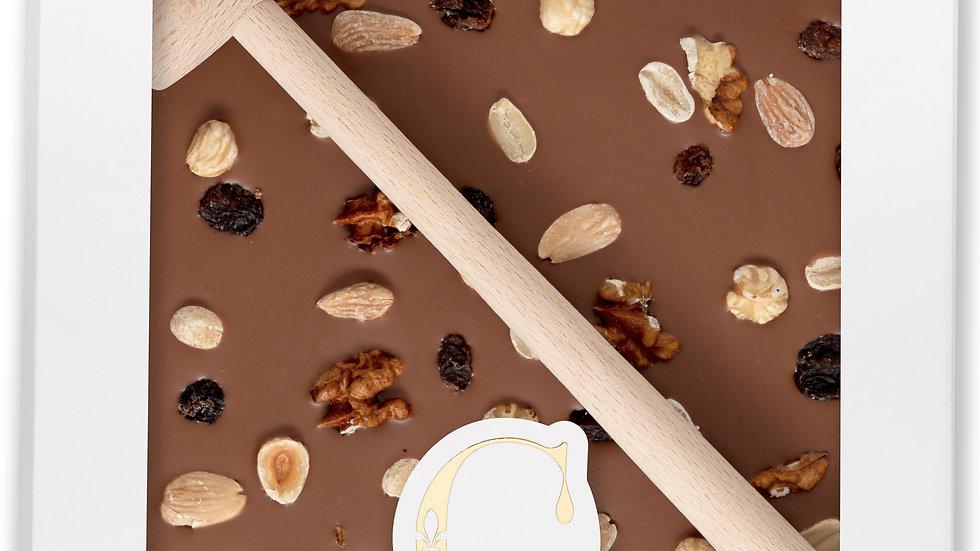 Coffret Marteau Chocolat aux Lait, Fruits à coque et raisons secs