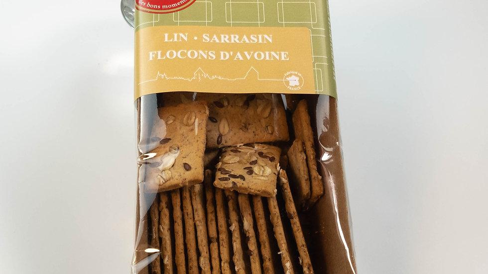 Crackers salé saveur figue au graines de lin, sésame et flocon d'avoine