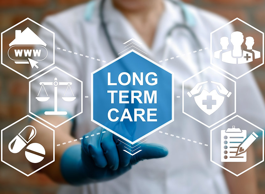Doctor touched LONG TERM CARE text and w