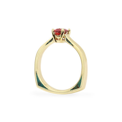 Red Spinel & Chrysocolla Windows Ring