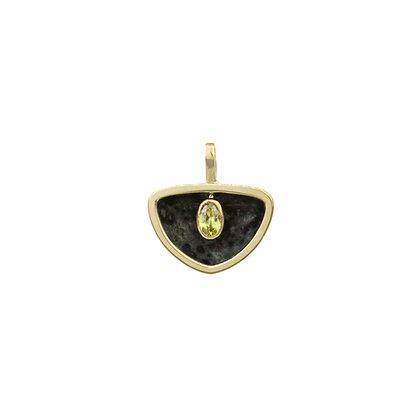 Kambaba Jasper & Sphene Cauldron Shield Pendant