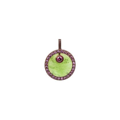 Jade & Grape Garnet Cauldron Pavé Pendant (Mini)