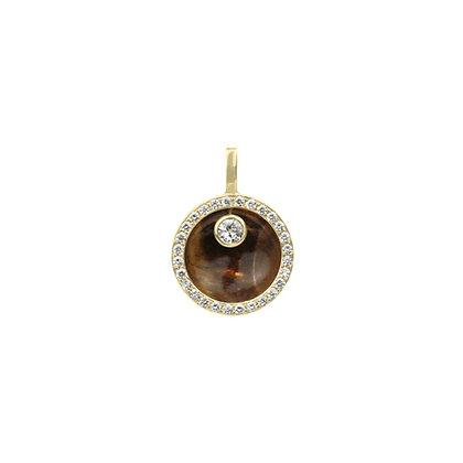 Tiger's Eye & Diamond Pavé Cauldron Pendant (Mini)