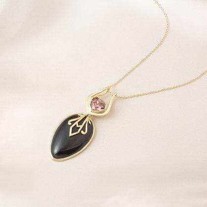 Black Jade and Zircon Convertible Pendant