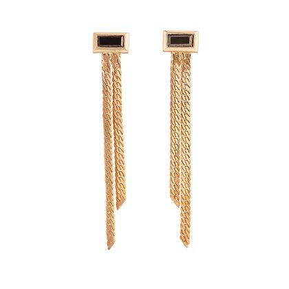 Black Diamond Double Strand Dangle Earrings