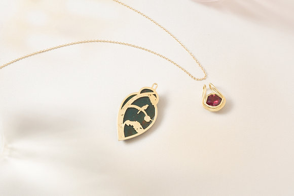 Bloodstone and Rhodolite Garnet Convertible Pendant