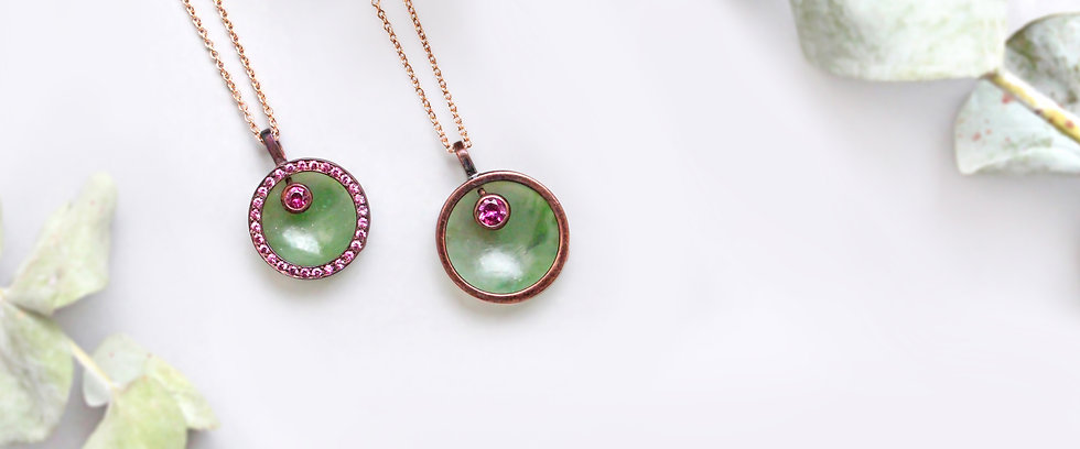 Mercurius Jewelry, made in california, handmade jewelry, alchemy jewelry, precious metals, unqiue fine jewelry, gemstone jewelry, 18k rose gold, fine handmade jewelry, ethical jewelry, recycled gold, gemstone pendants, pendant necklaces, pink and green