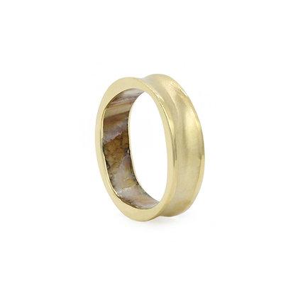 Fossilized Mammoth Molar Gold Orbital Ring