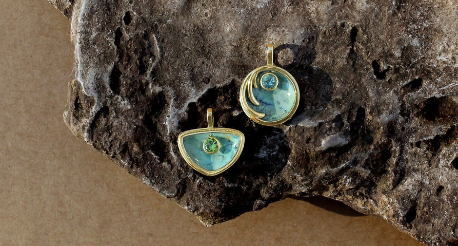 Carved stone and gemstone pendants byMercurius Jewelry, made in california, handmade jewelry, alchemy jewelry, precious metals, unqiue fine jewelry, gemstone jewelry, 18k yellow gold, fine handmade jewelry, ethical jewelry, recycled gold