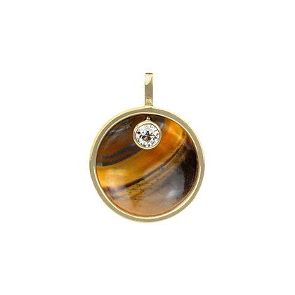 Tiger's Eye & Diamond Cauldron Pendant (Large)
