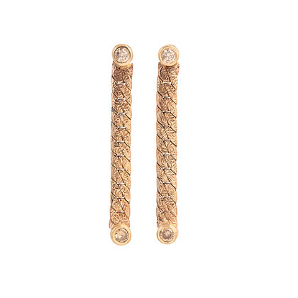 Champagne Diamond Gold Dangle Earrings